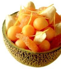 Banana, melon and grapefruit salad