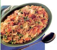 Banana and sausage pilaf